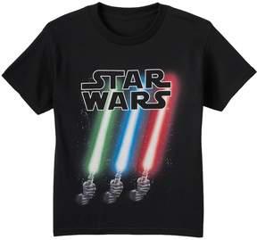 Star Wars Boys 8-20 Slanted Lightsabers Glow-in-the-Dark Tee