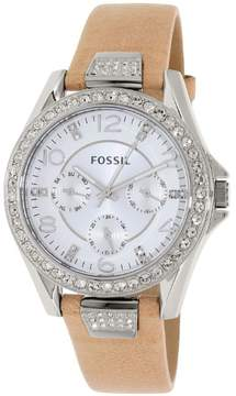 Fossil Women's Riley ES3889 Beige Leather Quartz Fashion Watch
