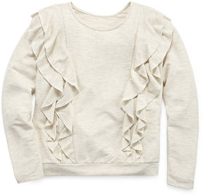 Arizona LS Ruffle Front Sweatshirt - Girl's 7-16 & Plus