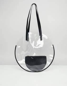 Asos DESIGN plastic circle shopper bag with pouch