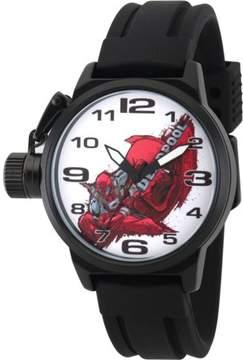 Marvel Marvel's Deadpool Men's Black Alloy Crown Protector Watch, Black Rubber Strap