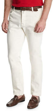 Kiton Tennis Court Five-Pocket Twill Pants, White