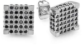 Ice Black Cubic Zirconia White Platinum-Plated Men's Stud Earrings