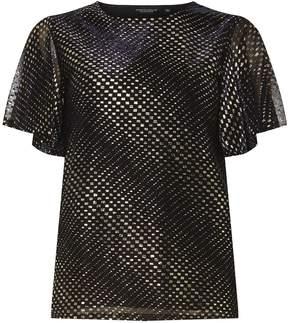 Dorothy Perkins Navy Glitter Angel Sleeve Top