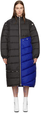 3.1 Phillip Lim Blue and Black Long Colorblock Puffer Coat
