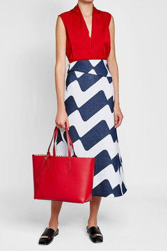 Burberry Reversible Leather Tote - RED - STYLE