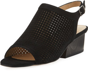 Neiman Marcus Corrie Perforated Slingback Sandal, Black