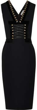 Altuzarra Adriana Lace-up Velvet-trimmed Crepe Dress - Black