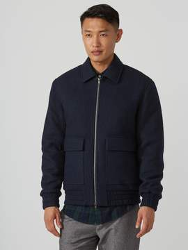 Frank and Oak Wool-Bouclé Harrington Jacket in Navy