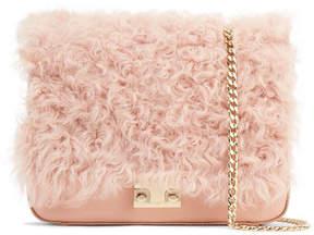 Loeffler Randall Lock Leather And Shearling Shoulder Bag - Blush