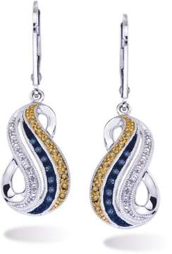 Armani Exchange Jewelry Blue and Wheat Diamond Earrings in Sterling Silver
