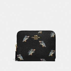 Coach Small Zip Around Wallet With Party Owl Print