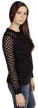 Dex Diagonal Cable Open Stitch Sweater In Black.