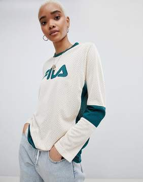 Fila Oversized Baseball Top With V Neck In Contrast Mesh