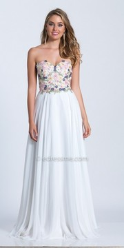 Dave and Johnny Strapless Corset Back Embroidered Prom Dress