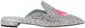 Chiara Ferragni Ballet Flats Slipper Logomania Glitter Pointy Toe With Maxi Embroidery Fluo Eyes Flerting