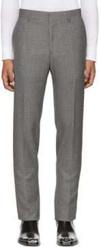 Calvin Klein Grey Fancy Wool Check Marching Band Trousers