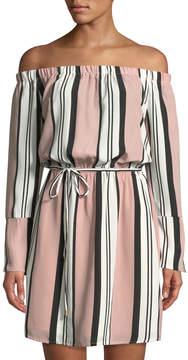 Dex Off-The-Shoulder Striped Belted Dress