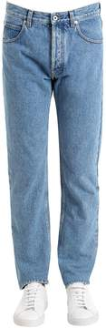 Loewe Cotton Denim Jeans W/ Printed Pocket