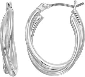 Dana Buchman Crosscross Double Oval Hoop Earrings