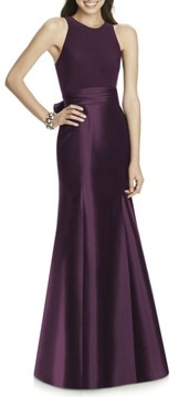 Alfred Sung Women's Mikado Jersey Bodice Trumpet Gown