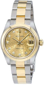 Rolex Datejust Champagne Jubilee Diamond Dial Steel and 18K Yellow Gold Ladies Watch