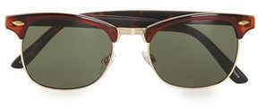 Topman Gold And Brown Half Frame Sunglasses