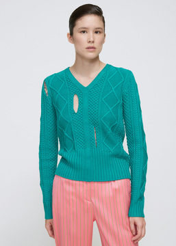 Aalto Green Slit Cable Knit