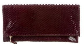 Robert Clergerie Snakeskin Fold-Over Clutch