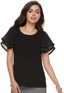 Elle Women's Mixed-Media Layered Sleeve Top