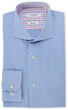 Isaac Mizrahi Blue Gingham Slim Fit Dress Shirt