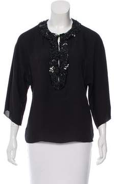 Andrew Gn Embellished Three-Quarter Sleeve Top