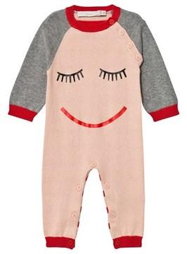 Stella McCartney Pink Face Print Footless Babygrow