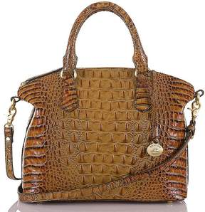 Brahmin Toasted Almond Collection Duxbury Crocodile-Embossed Dome Satchel