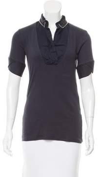 Brunello Cucinelli Monili-Trimmed Short Sleeve Top