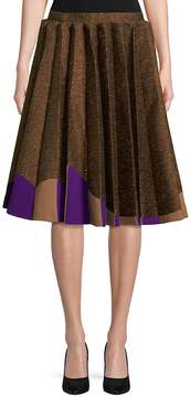 DELPOZO Women's Pleated Skirt with Two-Tone Hem