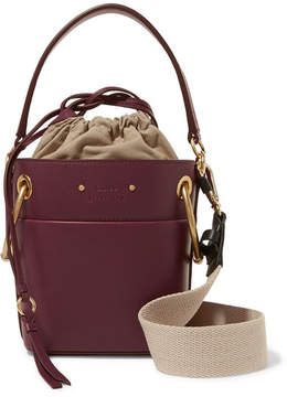 Chloé Roy Mini Leather Bucket Bag - Burgundy