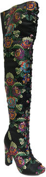 Bamboo Black Floral Limelight Over-the-Knee Boot - Women