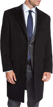 Neiman Marcus Classic Cashmere Single-Breasted Topcoat, Black