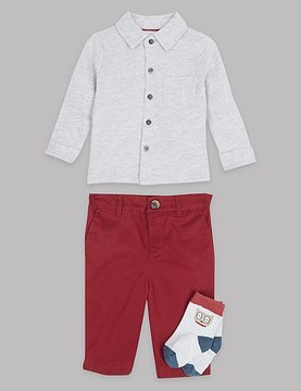 Marks and Spencer 3 Piece Polo Shirt & Trousers with Socks Outfit