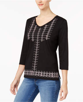 Alfred Dunner Talk Of The Town Houndstooth-Check Studded Top