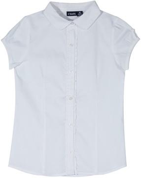 Chaps Girls 4-16 Ruffled Placket School Uniform Top