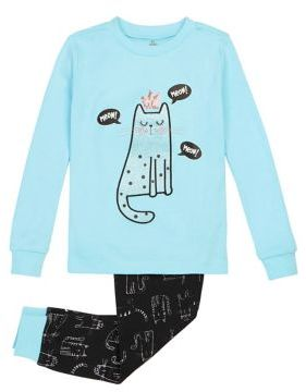 Petit Lem Little Girl's Cat Cotton Top & Pants Pajama Set