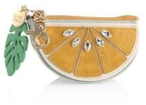See by Chloe Embellished Lemon Leather Clutch