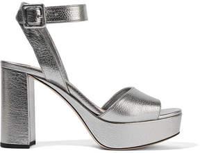 Miu Miu Textured-leather Platform Sandals - Silver