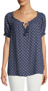 Chelsea & Theodore Medallion-Print Smocked Tie-Neck Blouse