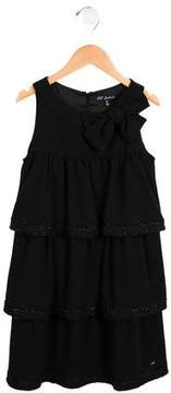 Lili Gaufrette Girls' Bow-Accented Tiered Dress