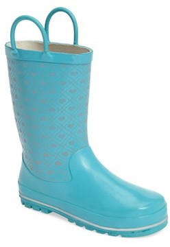 Western Chief Girl's Reflective Hearts Rain Boot