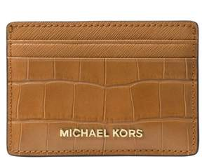 Michael Kors Money Pieces Crocodile-effect Leather - Card Holder - Acorn - 32F7GF6D0E-532 - ONE COLOR - STYLE