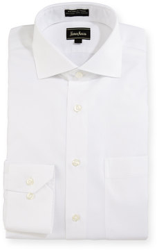 Neiman Marcus Classic-Fit Non-Iron Solid Dress Shirt, White